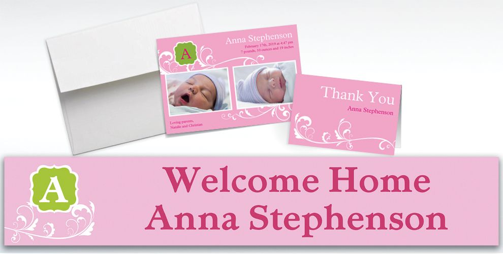 Custom Filigree and Monogram Girl Announcements, Thank You Notes and Banners