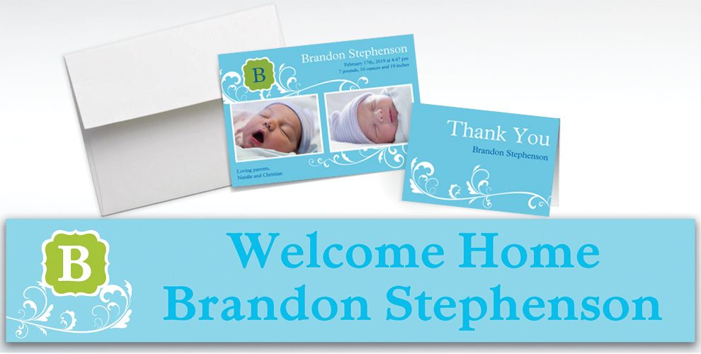 Custom Filigree and Monogram Boy Announcements, Thank You Notes and Banners