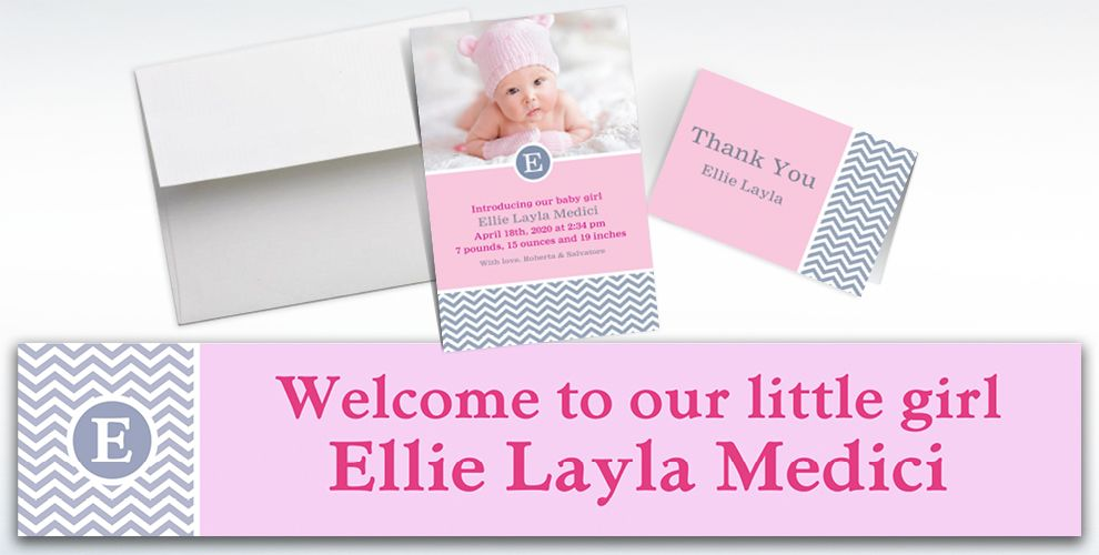 Custom Chevron and Initial Girl Announcements, Thank You Notes and Banners