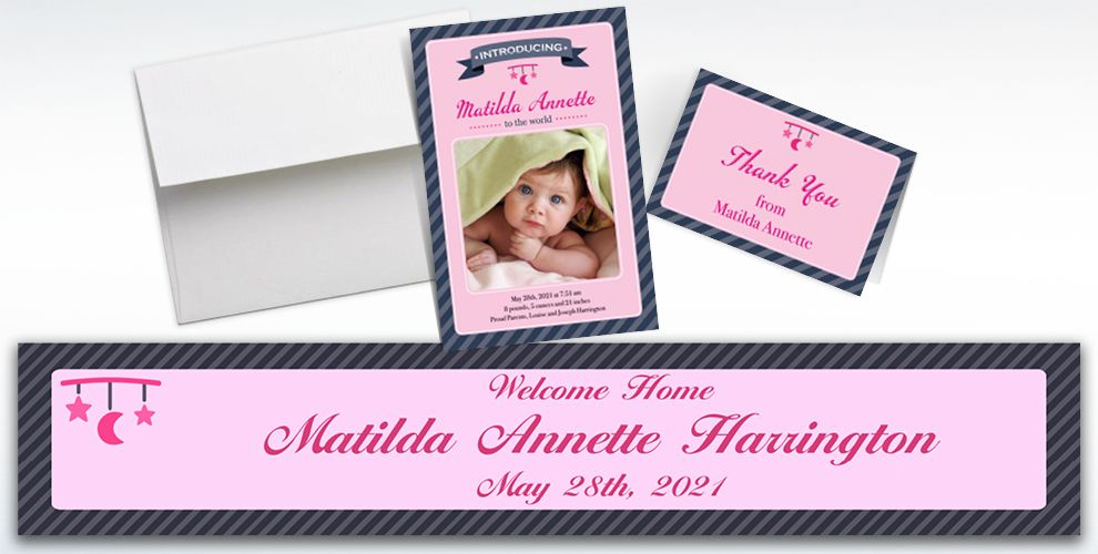 Custom Introducing the Baby Girl Announcements, Thank You Notes and Banners