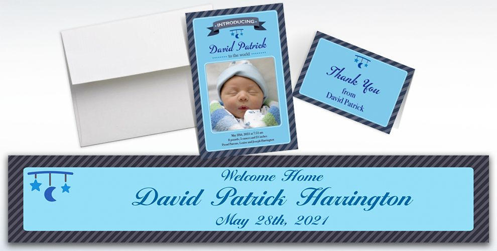 Custom Introducing the Baby Boy Announcements, Thank You Notes and Banners