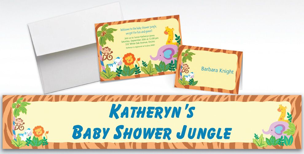 Custom Jungle Baby Shower Invitations and Thank You Notes