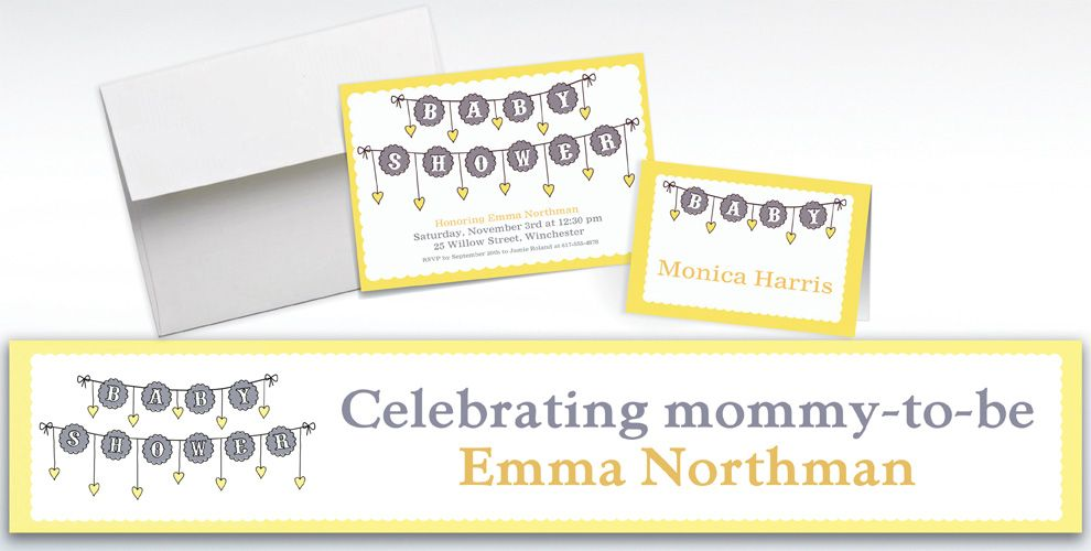 Custom Baby Clothesline Neutral Invitations and Thank You Notes