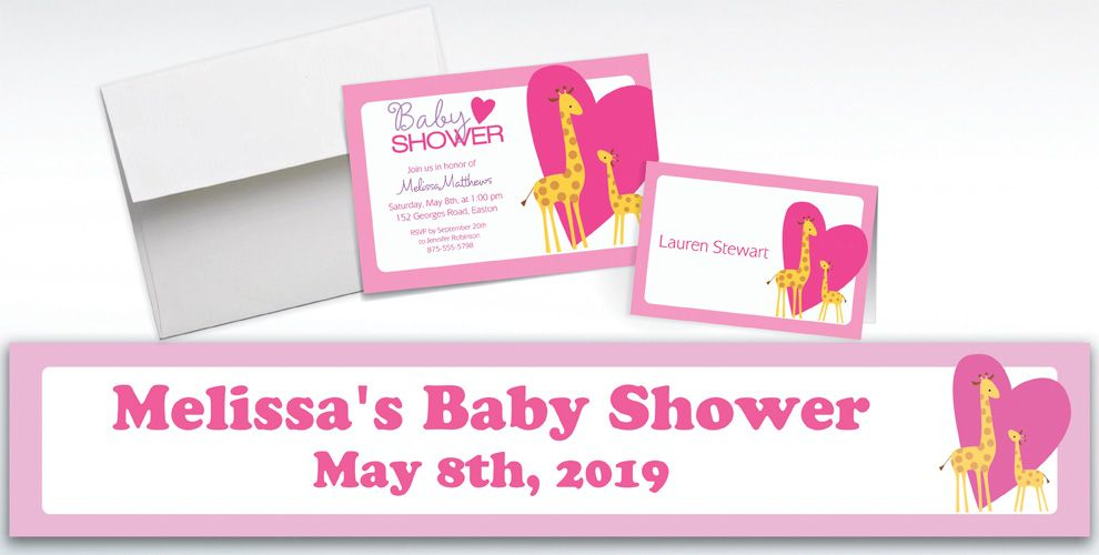 Custom Sweet Giraffes and Heart Girl Invitations and Thank You Notes