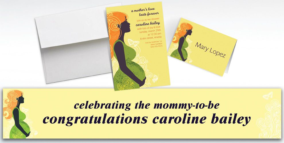 Custom Earth Mama Neutral Invitations and Thank You Notes
