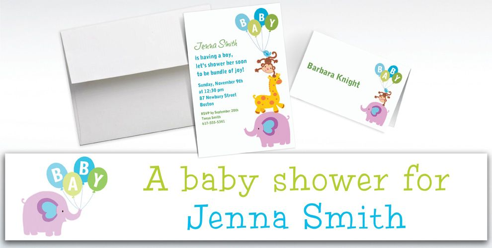 Custom Animals with Boy Balloons Invitations and Thank You Notes