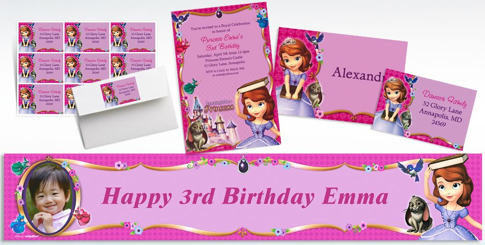 Custom Sofia the First  Invitations & Thank You Notes