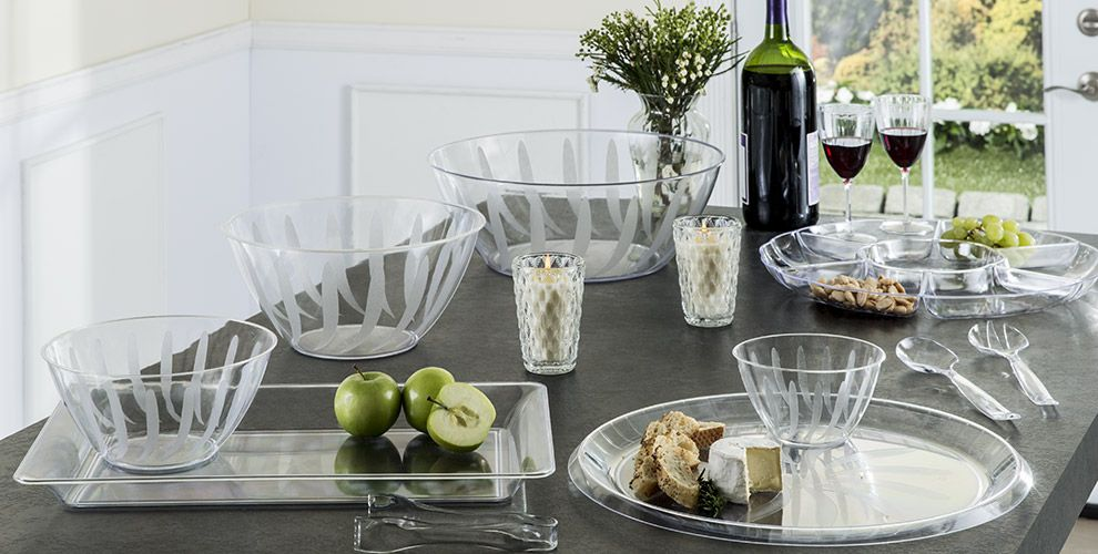 CLEAR Serving Trays, Bowls and Utensils