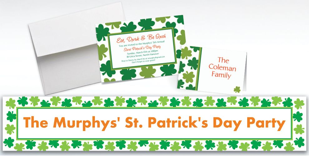 Custom Shamrock Shimmer St. Patrick's Day Invitations and Thank You Notes
