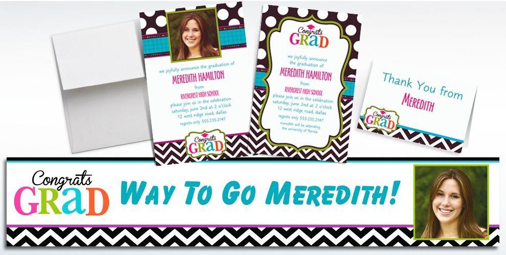 Custom Bright Congrats Grad Invitations and Thank You Notes
