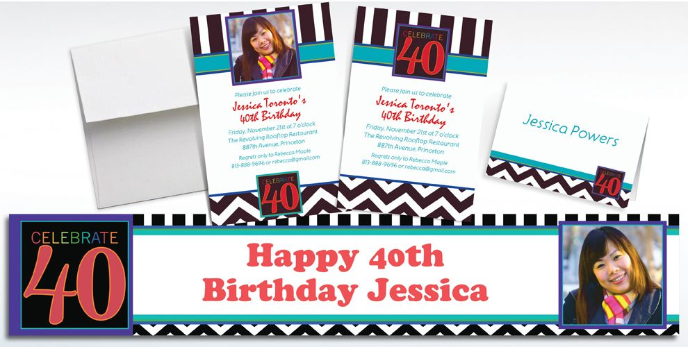Custom 40th Birthday Invitations and Thank You Notes