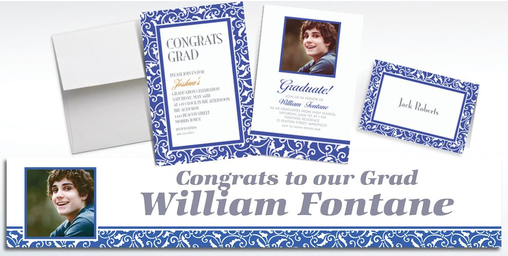 Custom Royal Blue Ornamental Scroll Invitations and Thank You Notes