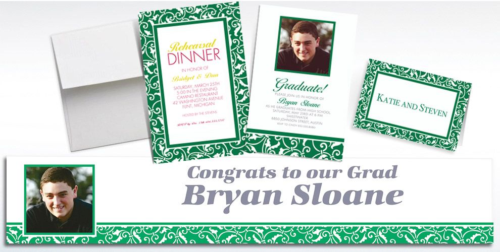 Custom Festive Green Ornamental Scroll Invitations and Thank You Notes