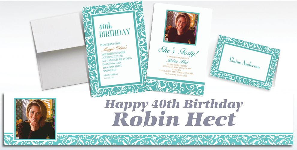Custom Robin's Egg Blue Ornamental Scroll Invitations and Thank You Notes