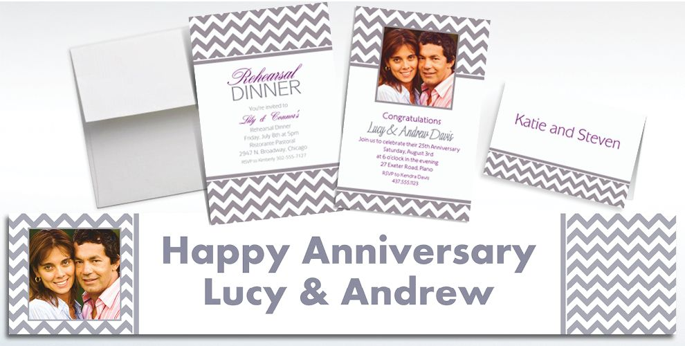 Custom Silver Chevron Invitations and Thank You Notes