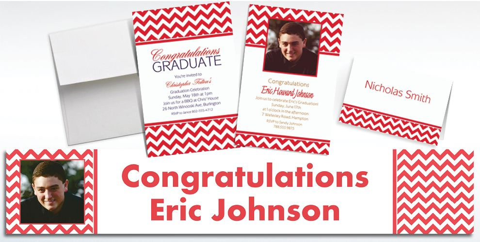 Custom Red Chevron Invitations and Thank You Notes