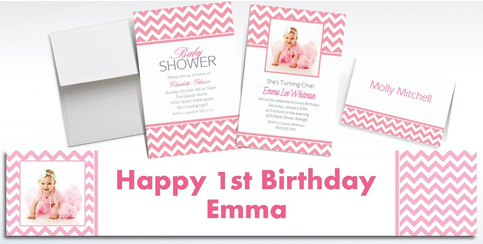 Custom Pink Chevron Invitations and Thank You Notes