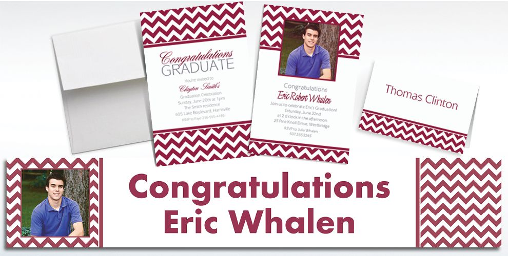 Custom Berry Chevron Invitations and Thank You Notes