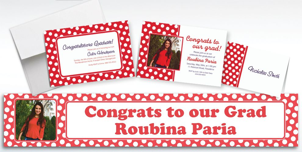 Custom Red Polka Dot Invitations and Thank You Notes