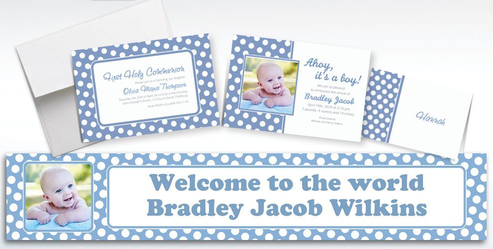 Custom Pastel Blue Polka Dot Invitations and Thank You Notes