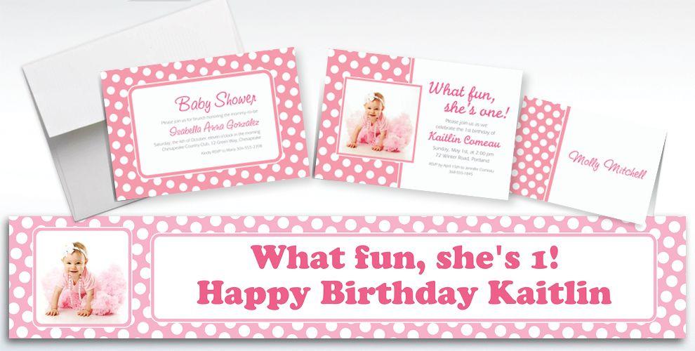 Custom Pink Polka Dot Invitations and Thank You Notes