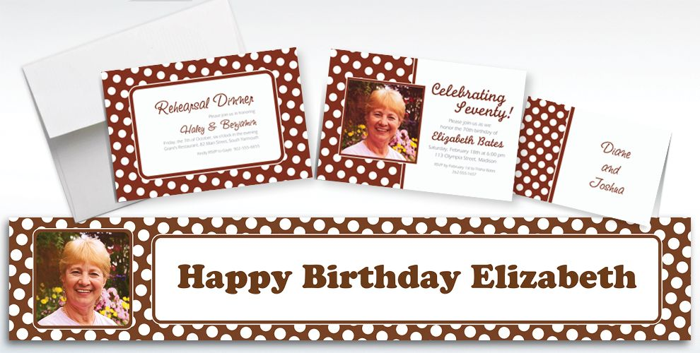 Custom Chocolate Brown Polka Dot Invitations and Thank You Notes