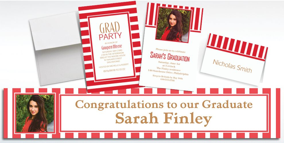 Custom Red Striped Invitations and Thank You Notes