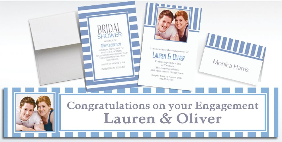 Custom Pastel Blue Striped Invitations and Thank You Notes