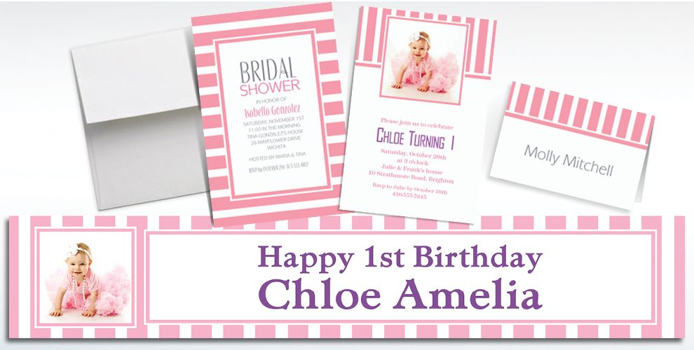 Custom Pink Striped Invitations and Thank You Notes