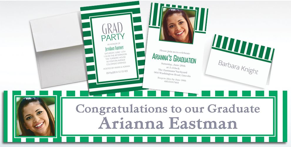 Custom Festive Green Striped Invitations and Thank You Notes