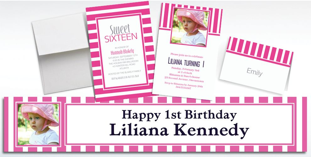 Custom Bright Pink Striped Invitations and Thank You Notes