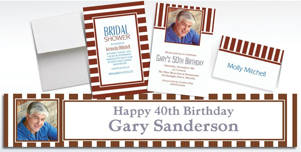 Custom Chocolate Brown Striped Invitations and Thank You Notes