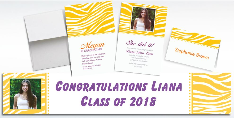 Custom Sunshine Yellow Zebra Invitations and Thank You Notes