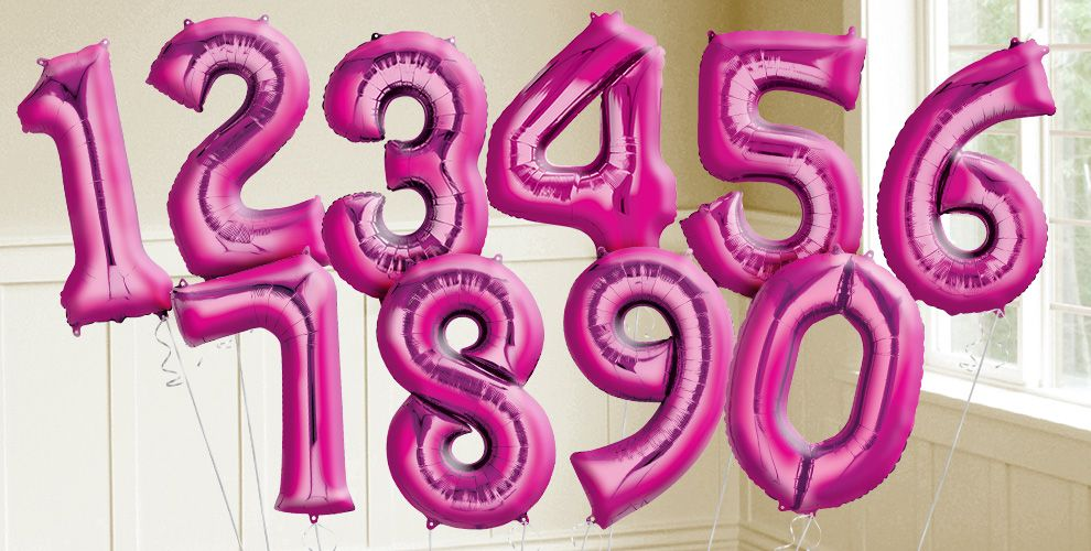 Giant Bright Pink Number Balloons