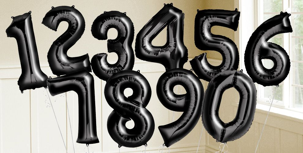 Giant Black Number Balloons
