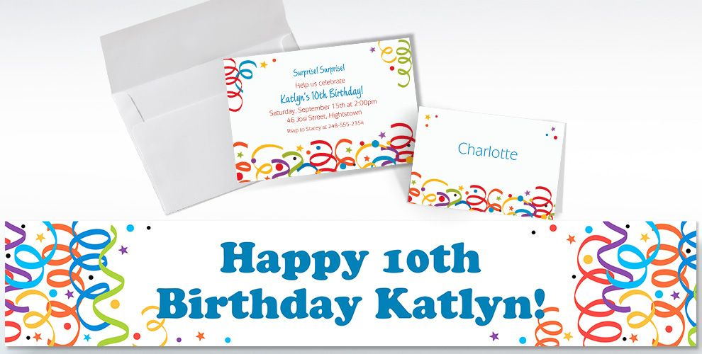 Custom Colorful Birthday Invitations and Thank You Notes