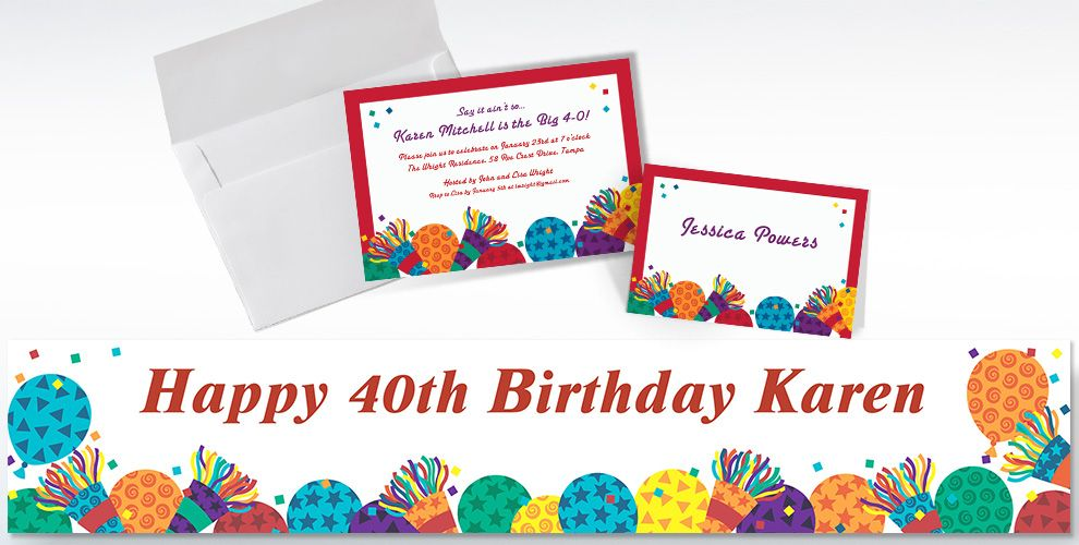Custom Birthday Horns Invitations and Thank You Notes