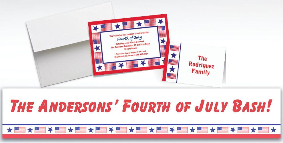 Custom Patriotic Party Invitations and Thank You Notes