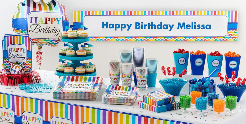 Bright Dot & Chevron Birthday Party Supplies
