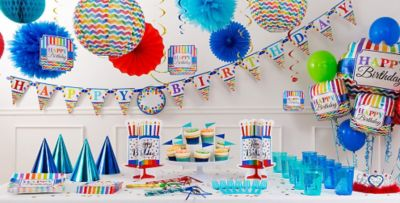 Rainbow Dot Chevron Birthday Party Supplies Chevron Decorations