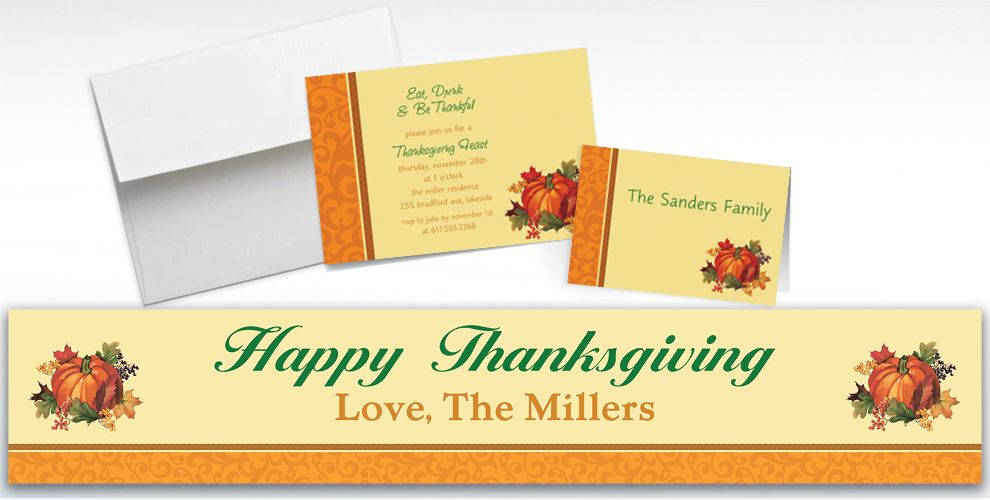 Custom Bountiful Holiday Invitations and Thank You Notes