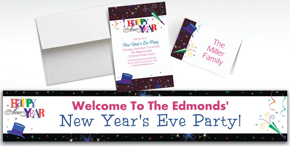 Custom Ring in the New Year Invitations and Thank You Notes