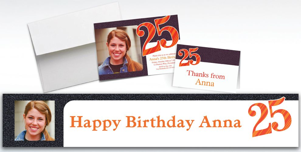 Custom Big Celebration 25 Photo Invitations, Thank You Notes and Banners