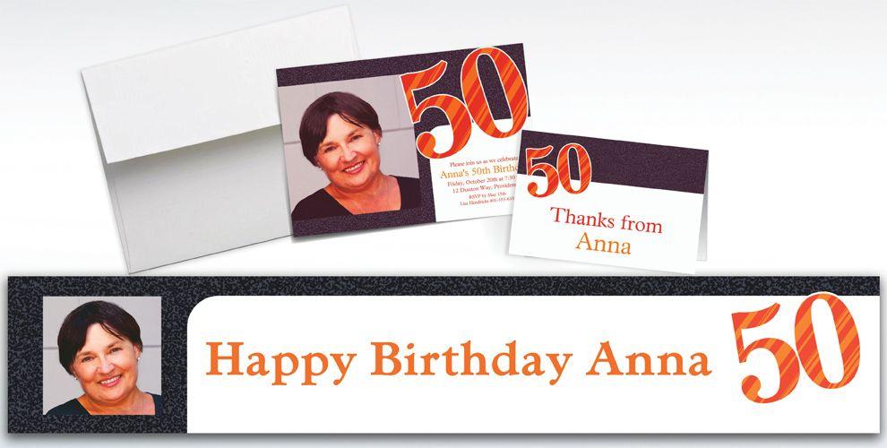 Custom Big Celebration 50 Photo Invitations