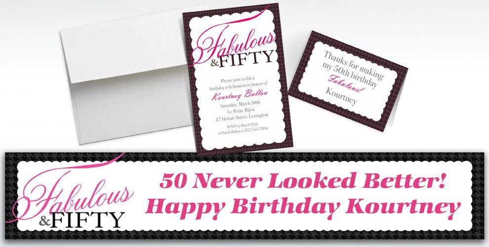 Custom Fabulous and Fifty Invitations