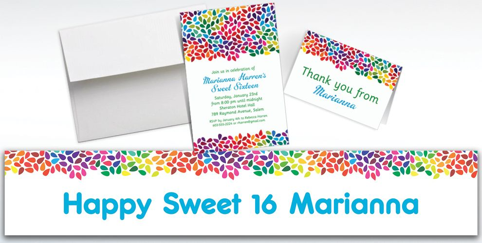 Custom Rainbow Droplets Invitations and Thank You Notes