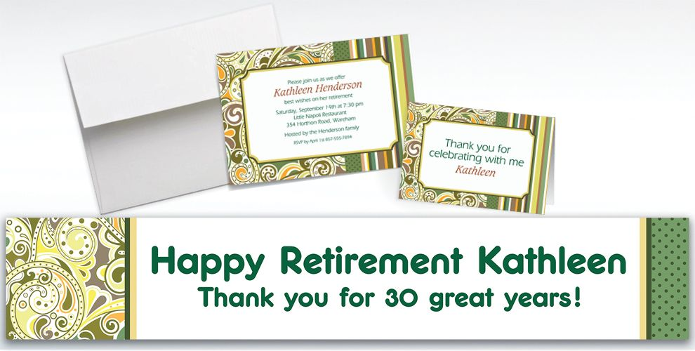 Custom Sage Paisley Invitations and Thank You Notes