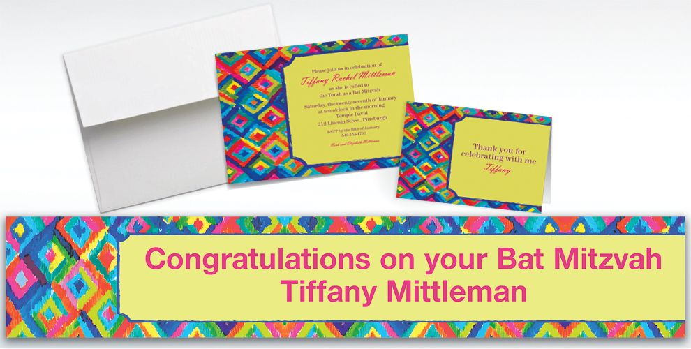 Custom Technicolor Ikat Invitations and Thank You Notes