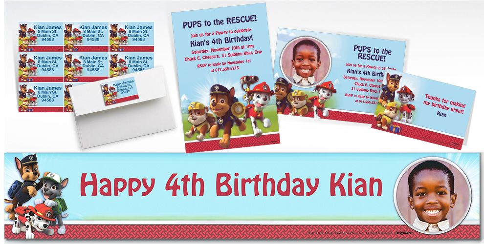 Custom Paw Patrol Invitations & Thank You Notes
