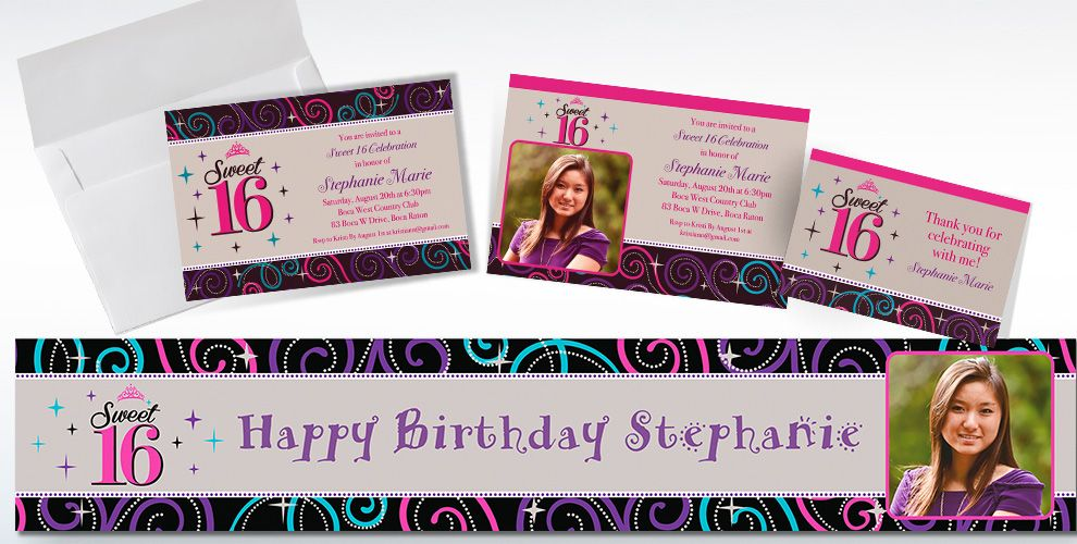 Custom Celebrate Sweet 16 Invitations and Thank You Notes